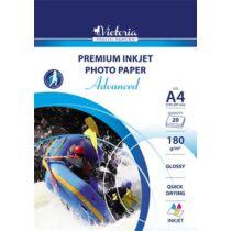 """Fotópapír, tintasugaras, A4, 180 g, fényes, VICTORIA """"Advanced"""""""