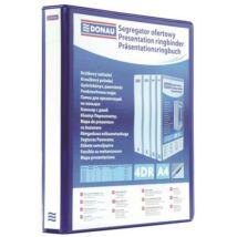 Gyűrűs könyv, panorámás, 4 gyűrű, D alakú, 80 mm, A4, PP, DONAU, kék