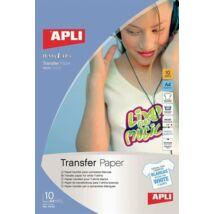 Fólia, vasalható, A4, tintasugaras nyomtatóba, fehér pólóhoz, APLI