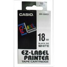 Feliratozógép szalag, 18 mm x 8 m, CASIO, fehér-fekete