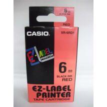 Feliratozógép szalag, 6 mm x 8 m, CASIO, piros-fekete