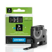 """Feliratozógép szalag, 12 mm x 7 m, DYMO """"D1"""", fekete-fehér"""