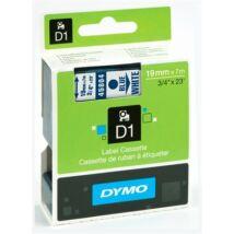"""Feliratozógép szalag, 19 mm x 7 m, DYMO """"D1"""", fehér-kék"""