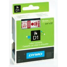 """Feliratozógép szalag, 19 mm x 7 m, DYMO """"D1"""", fehér-piros"""