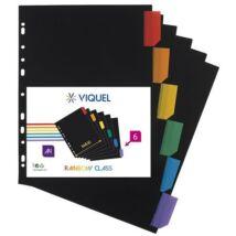 """Regiszter, műanyag, A4 Maxi, 6 részes, VIQUEL """"Rainbow Class"""", fekete"""