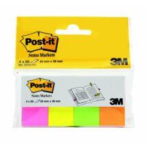 Jelölőcímke, papír, 4x50 lap, 20x38 mm, 3M POSTIT, neon vegyes
