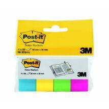 Jelölőcímke, papír, 4x50 lap, 20x38 mm, 3M POSTIT, ultra vegyes