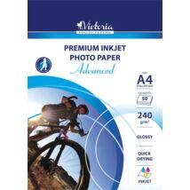 """Fotópapír, tintasugaras, A4, 240 g, fényes, VICTORIA """"Advanced"""""""