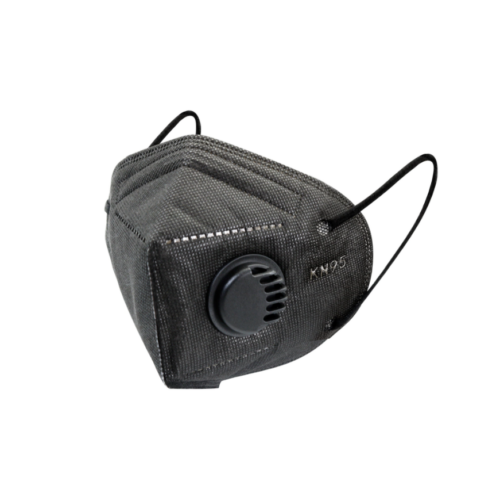 FFP2 KN95 szelepes maszk 1 darabos csomagolásban, fekete