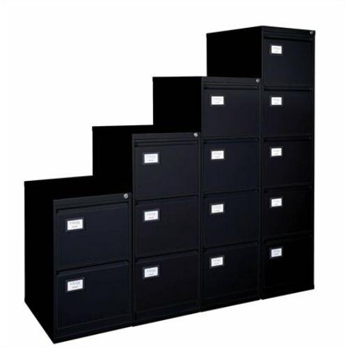 Függőmappatároló fémszekrény, 3 fiókos, VICTORIA, fekete