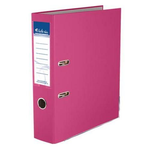 """Iratrendező, 75 mm, A4, PP/karton, élvédő sínnel, VICTORIA, """"Basic"""", rózsaszín"""