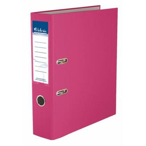 """Iratrendező, 75 mm, A4, PP/karton, VICTORIA, """"Basic"""", rózsaszín"""