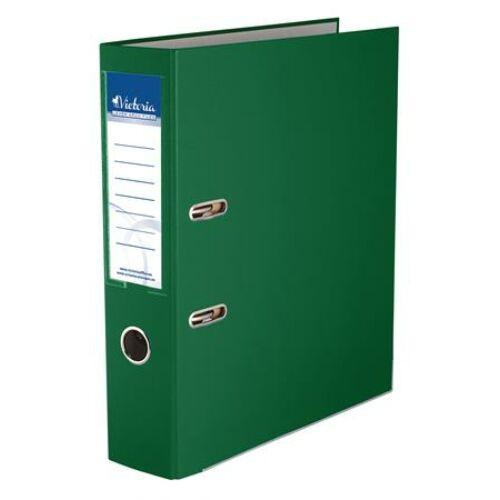 """Iratrendező, 75 mm, A4, PP/karton, élvédő sínnel, VICTORIA, """"Basic"""", zöld"""
