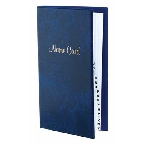 Névjegytartó, 128 db-os, gyűrűs, VICTORIA, márvány kék