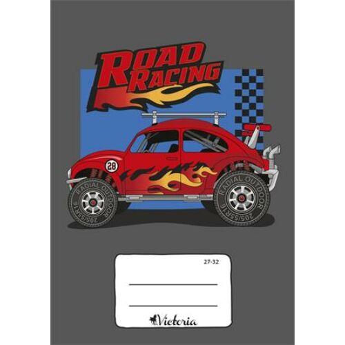 """Füzet, tűzött, A5, kockás, 32 lap, VICTORIA, """"Road Racing"""", """"27-32"""""""