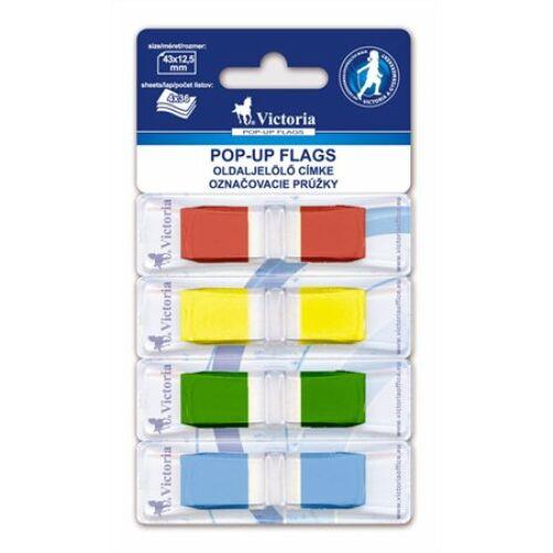 Jelölőcímke, műanyag, 4x36 lap, 43x12,5 mm, VICTORIA, vegyes szín