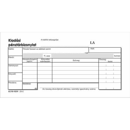"""Nyomtatvány, kiadási pénztárbizonylat, 25x2, VICTORIA """"B.318-103"""""""