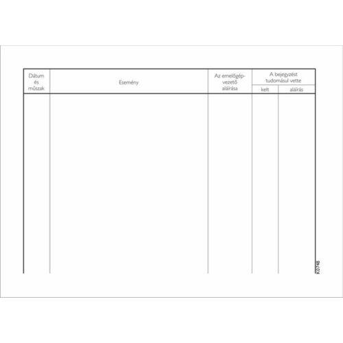 Nyomtatvány, emelőgépnapló, 25 lap, A5, VICTORIA
