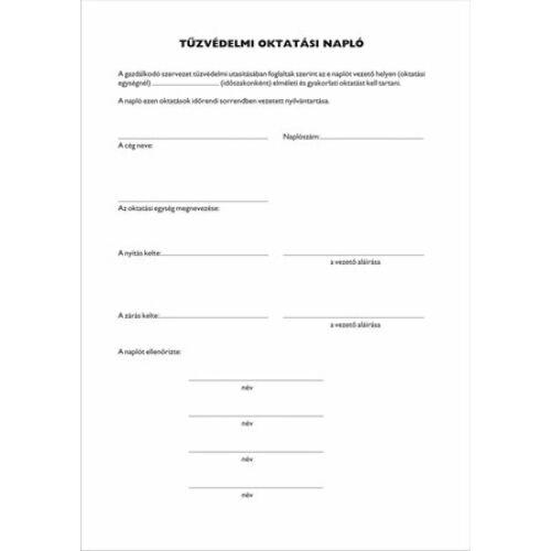 Nyomtatvány, tűzvédelmi oktatási napló, 40 oldal, A4, VICTORIA