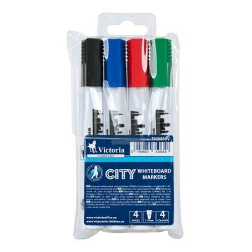 """Táblamarker készlet, 1-3 mm, kúpos, VICTORIA """"City"""", 4 különböző szín"""