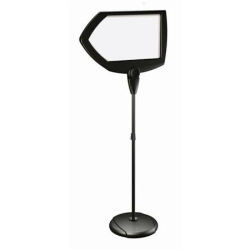 Információs állvány, mágneses, írható felülettel,  nyíl alakú, fekete, VICTORIA