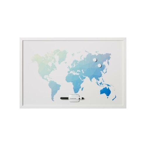 """Üzenőtábla, mágneses, 60x40 cm, fehér keret,  VICTORIA, """"Világtérkép"""""""