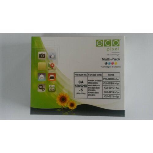 CANON CLI521 Multipack BKCMY 5 db-os  ECOPIXEL BRPGI520BK,CLI521BK,CLI521C,CLI521M,CLI521Y (For use)