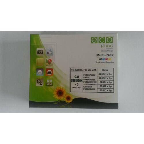 CANON CLI526 Multipack BKCMY 5db-os  ECOPIXEL BRPGI525BK,CLI526BK,CLI526C,CLI526M,CLI526Y (For use)