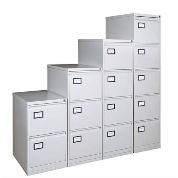 Függőmappatároló fémszekrény, 4 fiókos, VICTORIA, szürke