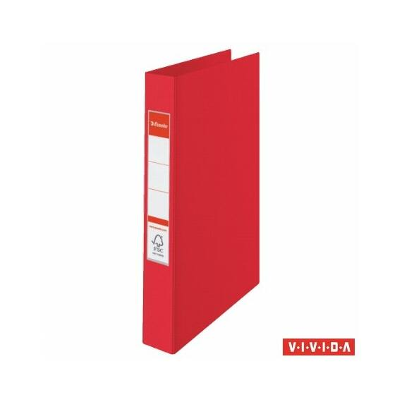 "Gyűrűs könyv, 4 gyűrű, 42 mm, A4, PP, ESSELTE ""Standard"", Vivida piros"