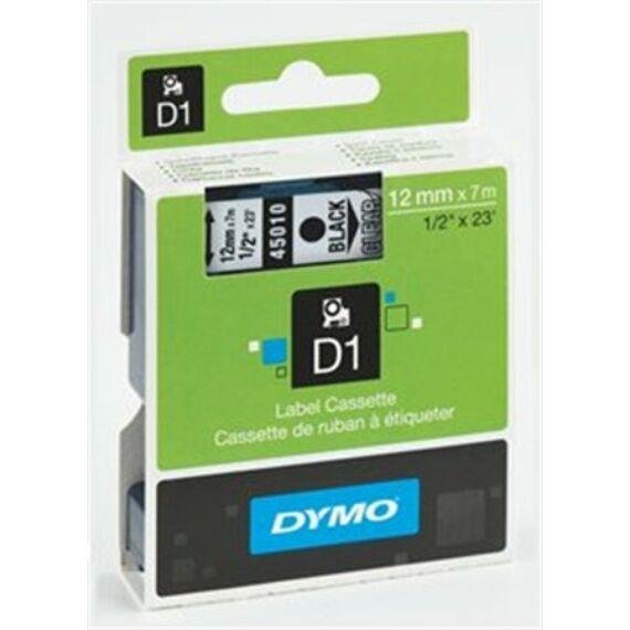 """Feliratozógép szalag, 9 mm x 7 m, DYMO """"D1"""", víztiszta-fekete"""
