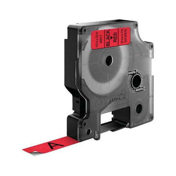 """Feliratozógép szalag, 12 mm x 7 m, DYMO """"D1"""", piros-fekete"""