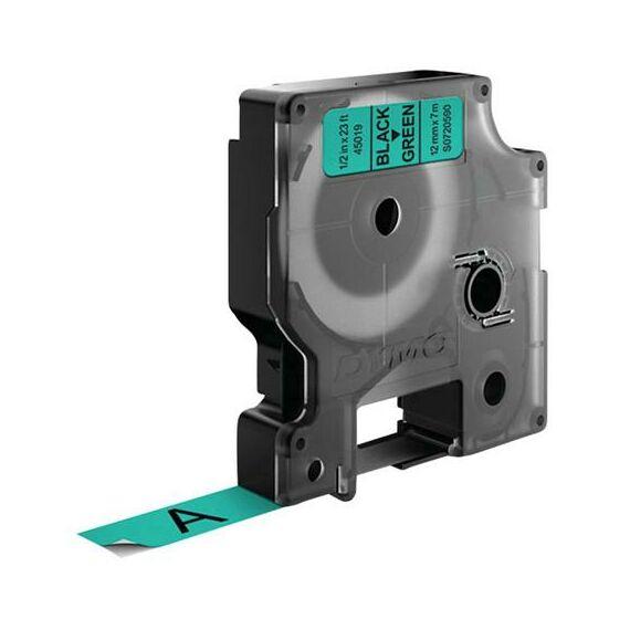 """Feliratozógép szalag, 12 mm x 7 m, DYMO """"D1"""", zöld-fekete"""