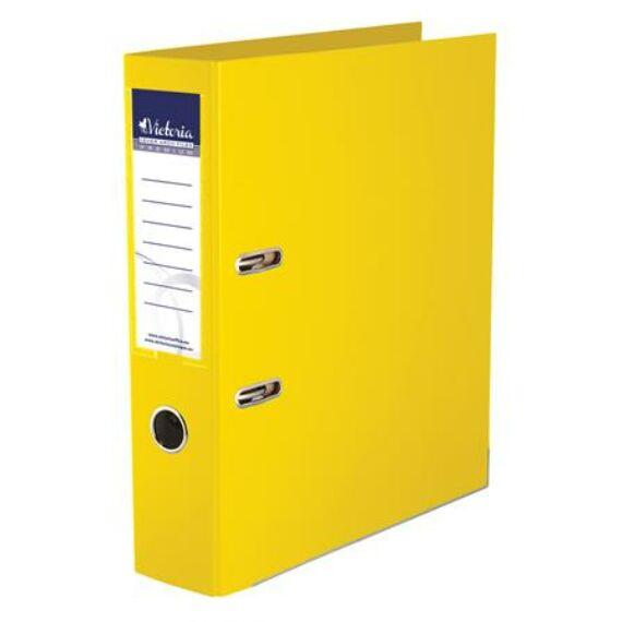 "Iratrendező, 75 mm, A4, PP/PP, élvédő sínnel, VICTORIA, ""Premium"", sárga"