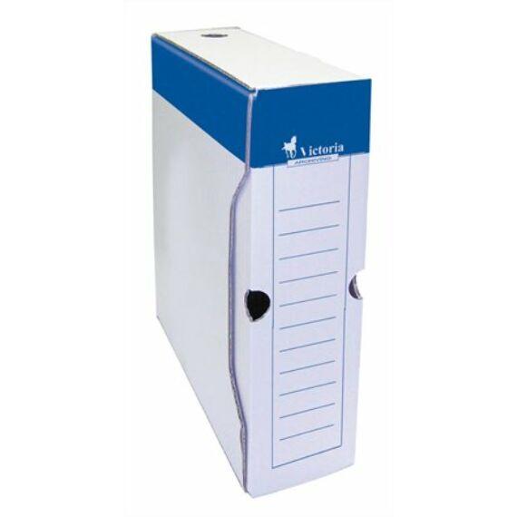 Archiváló doboz, A4, 80 mm, karton, VICTORIA, kék-fehér