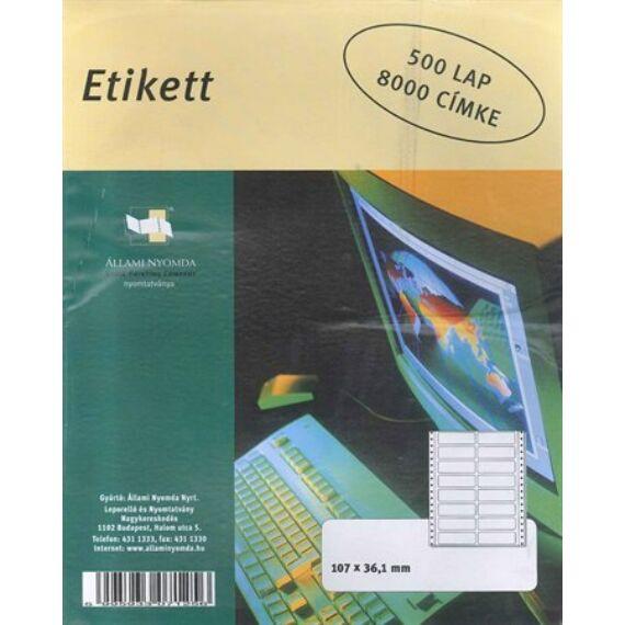 Etikett, mátrixnyomtatóhoz, 2 pályás, 107x36 mm, ÁLLAMI NYOMDA, 8000 etikett/csomag,