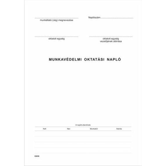 Nyomtatvány, munkavédelmi oktatási napló, 40 oldal, A4, VICTORIA